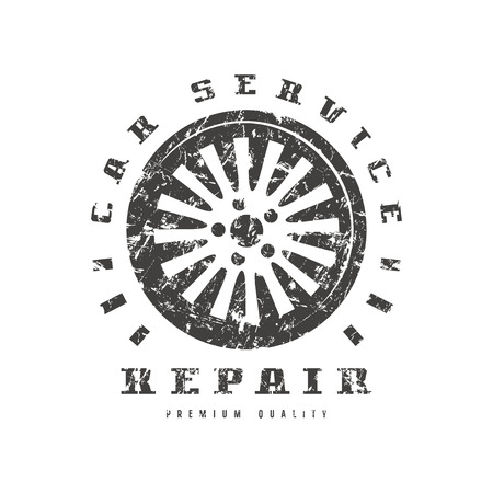 Car service badge with shabby texture. Graphic design for t-shirt. Black print on white background