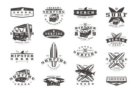 Set of surfing emblems. Graphic design for t-shirt. Black print on white background Illustration