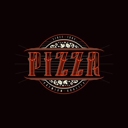 Vintage label for pizza. Color print on black background