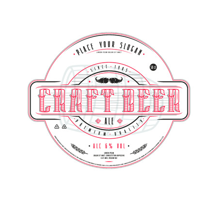 Craft beer label template in vintage style. Label with white background