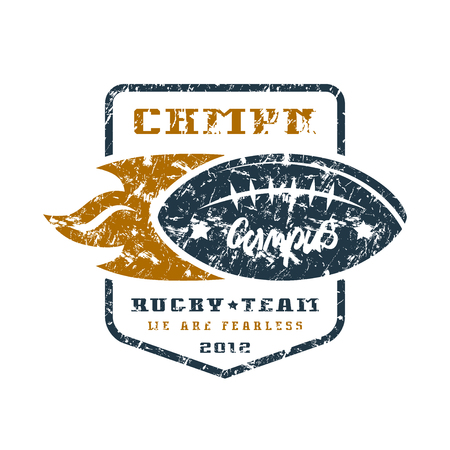 Rugby team badge with shabby texture. Graphic design for t-shirt. Color print on white background
