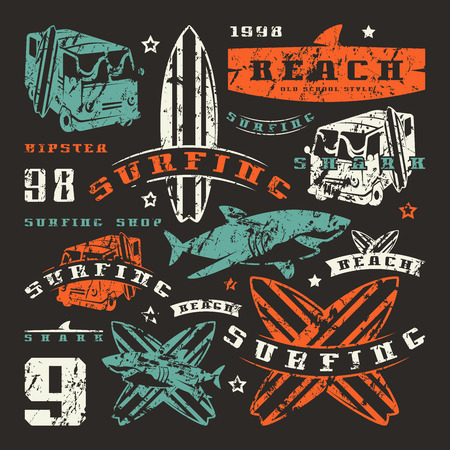 surfboard fin: Set of graphic elements. Bus, surfing, shark. Graphic design for t-shirt
