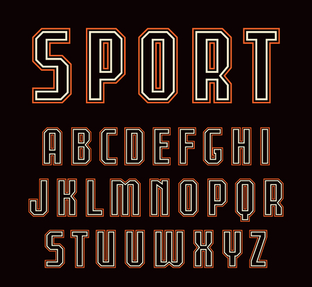 Contour sanserif font in sport style. Design for titles and logos. Color print on black background