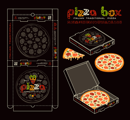 Stock vector design of boxes for pizza. Unwrapped box with layout elements and 3d presentation. Color print on black background