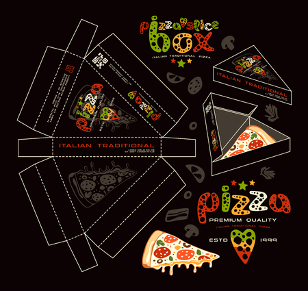 Stock vector design of boxes for pizza slice. Unwrapped box with layout elements and 3d presentation. Color print on black background