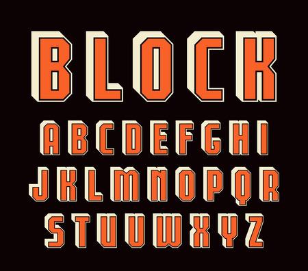 Decorative sanserif font with effect of volume. Design for titles. Color print on black background Illustration