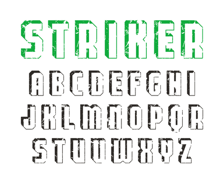 Decorative sanserif font with effect of volume. Letters with shabby texture