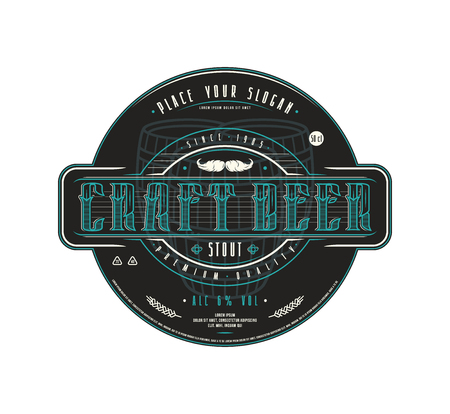 Craft beer label template in vintage style. Label with black background
