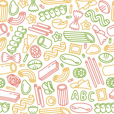 Nahtlose Muster Mit Sorten Von Nudeln. Design-Elemente In Dünnen ...