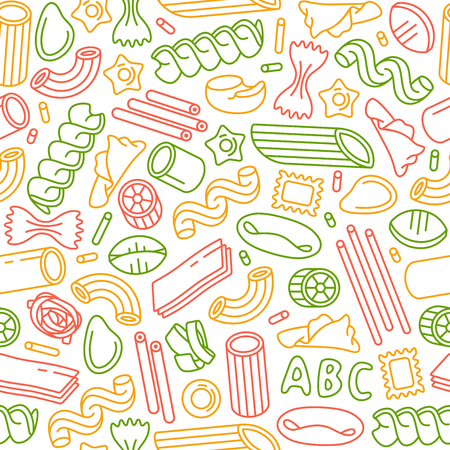 Seamless pattern with varieties of pasta. Design elements in thin line style. Color print on white background Illustration