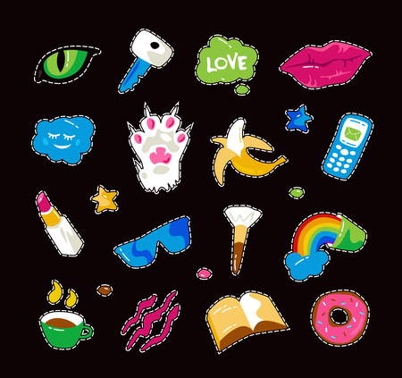 Fashion patch badges with lips, cat paw, cat eye and other elements. Colorful graphics in hand drawings style. Isolated on black background