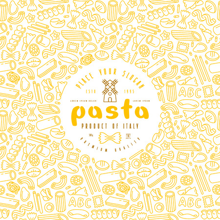 Pasta label and frame with pattern. Design elements in thin line style. Color print on white background