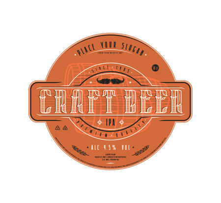 Craft beer label template in vintage style. Label with color background