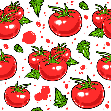 Juicy tomatoes seamless pattern. Design elements in flat style. Color print on white background Illustration