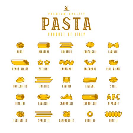 Set di icone varietà di pasta. Elementi di design in stile piatto. Isolato su sfondo bianco