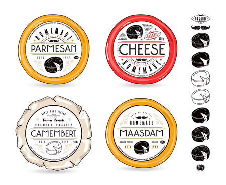 Set of template labels for cheese and design elements. Round labels for camembert, maasdam and parmesan cheeses with white background Ilustração