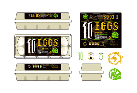 Set of template labels for egg packaging. Label with black background