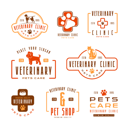 pet store advertising: Set of veterinary clinic labels. Color print on white background Illustration