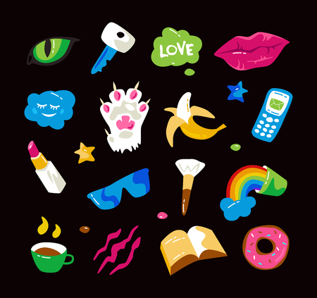 Adesivi di moda con le labbra, zampa di gatto, occhi di gatto e altri elementi. Grafica colorata in stile disegni a mano. Isolato su sfondo nero Archivio Fotografico - 75529782