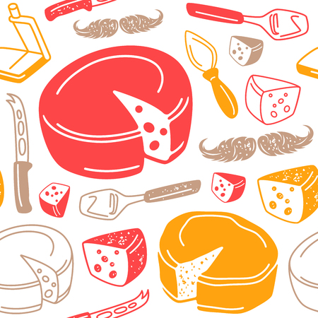 Seamless pattern with graphic image of cheese and kitchen accessories. Color print on white background