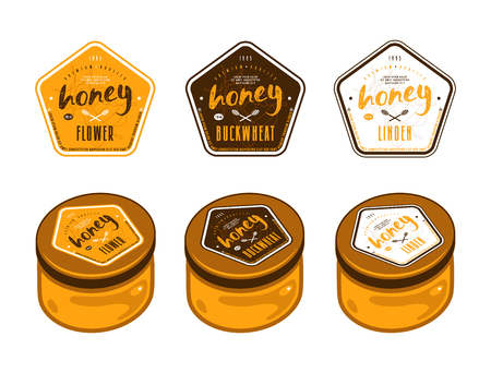 Set of pentagonal template labels for flower honey, linden honey and buckwheat honey. Presentation on the jar Çizim