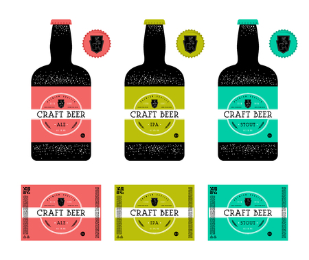 Set of template labels for craft beer. Colored labels with presentation on the bottle.