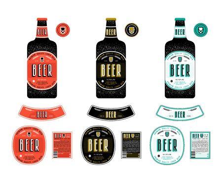 Set of template labels for lager beer. colored label with presentation on the bottle Illustration