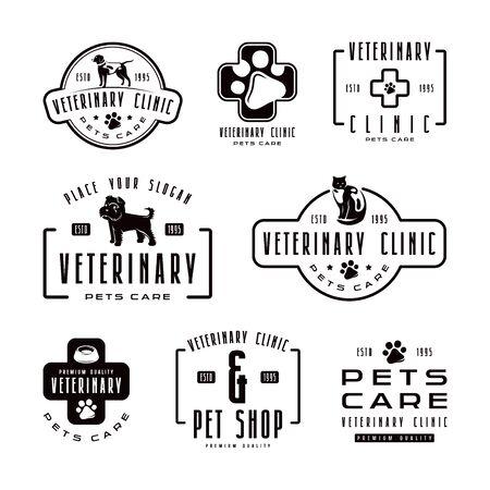 pet store advertising: Set of veterinary clinic labels. Black print.