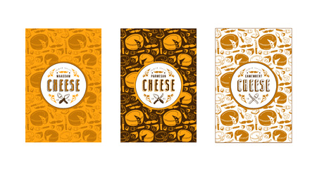 Set of seamless pattern and template labels for maasdam, parmesan and camembert cheeses. Set of color variants Illustration