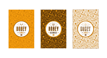 Set of seamless pattern and template labels for flower honey, linden honey and buckwheat honey. Set of color variants Illustration