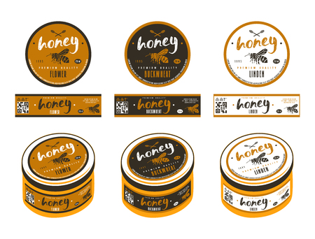 Set of templates labels for flower honey, linden honey and buckwheat honey. Presentation on the jar. Round and rectangular labels