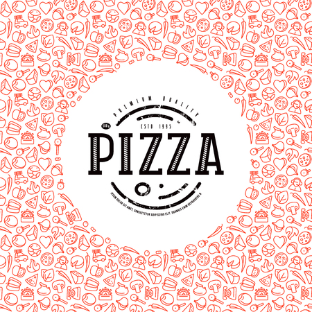 Couverture de conception de vecteur stock pour boîtes à pizza. Étiquette et cadre avec motif en fin de ligne. Impression couleur sur fond blanc Banque d'images - 77107986