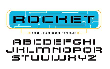 uppercase: Stencil-plate sanserif font in computer style. Design for titles and logos