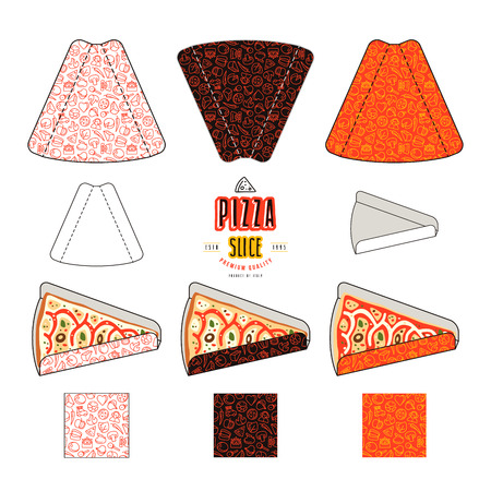 diecut: Set of design for packaging with pizza slices design