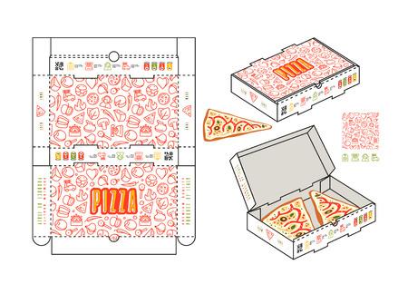 Vector design of rectangular box for pizza slices Illustration