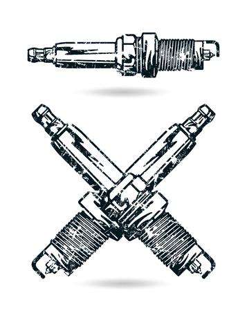 Illustration of spark-plug. Shabby texture style. Isolated on white background