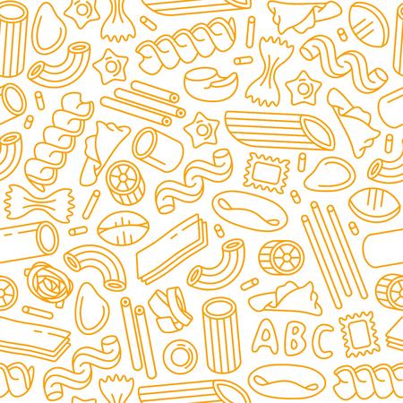 Seamless con varietà di pasta. Elementi di design in stile sottile. Stampa giallo su sfondo bianco
