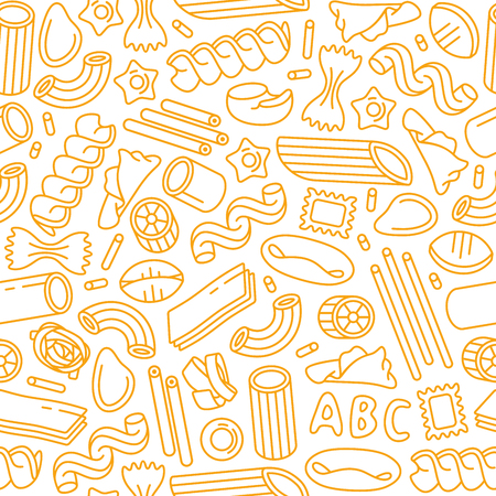 Seamless pattern with varieties of pasta. Design elements in thin line style. Yellow print on white background