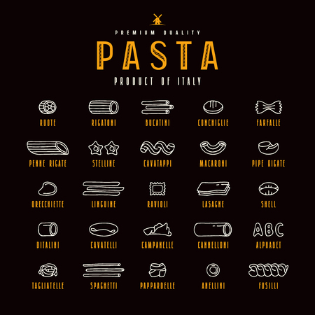 Set of icons varieties of pasta. Design elements in the style of drawn graphics. Isolated on black background Illustration
