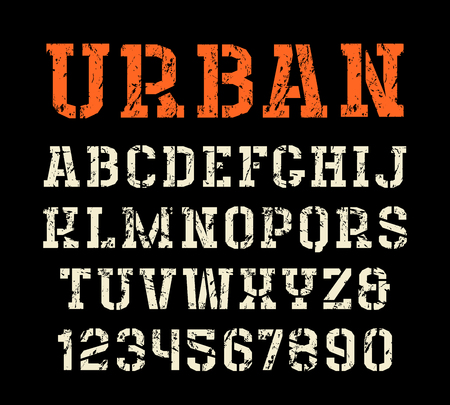 uppercase: Stencil-plate serif font in urban style. Letters with shabby texture. Print on black background