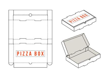 Pień prostokątny prostokątny pudełko na plasterki pizzy. Unwrapped i 3d obrazu