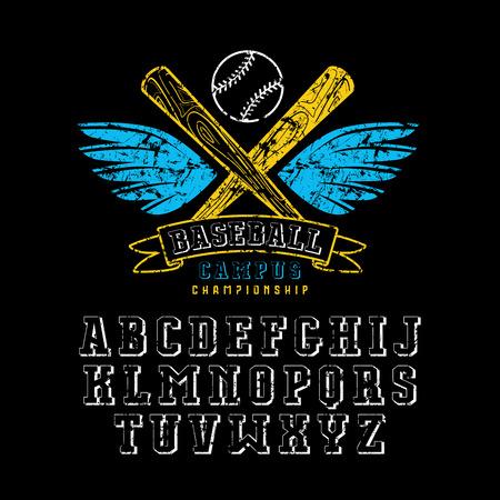 Decorative serif font and baseball emblem for t-shirt. Design with shabby texture. Color print on black background Illustration