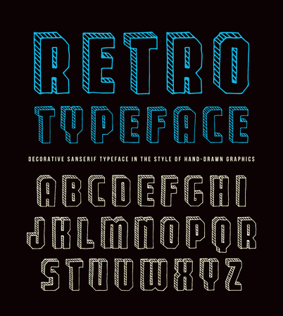 Decorative sanserif bulk font. Typeface in the style of hand-drawn graphics. Color print on black background
