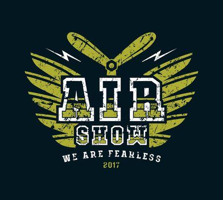 Air show emblem. Graphic design for t-shirt. Color print on black background
