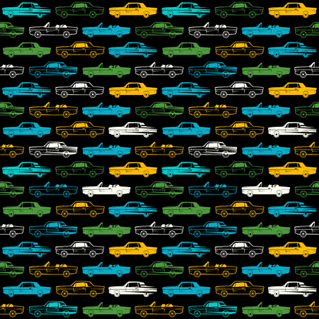 pit: Seamless pattern with image of retro cars. Color print on black background