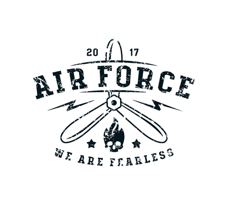 Air force emblem in thin line style. Graphic design for t-shirt. Black print on white background