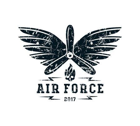 Air force emblem. Graphic design for t-shirt. Black print on white background Illustration