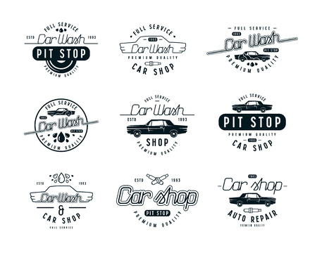 Car service emblems. Car wash and car shop labels. Isolated on white background Illustration