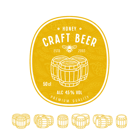 Honey beer label and design elements. Wooden barrels icons set in thin line style