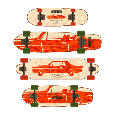 Print with image of retro car. Design for various forms of longboard and skateboard